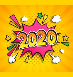 2020 new year boom speech bubble in pop art style vector