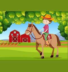 a boy riding horse at farmland vector image