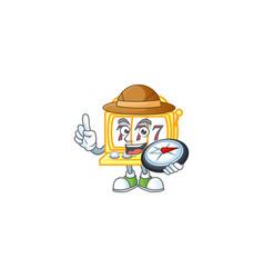 A golden slot machine explorer cartoon design vector