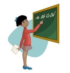 African american schoolgirl at blackboard vector