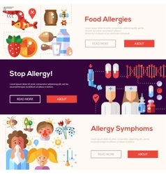Allergy and allergens flat design website banners vector