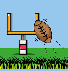 American football ball and goal post vector
