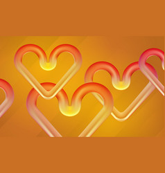 Banner 3d matte plastic hearts for valentines day vector