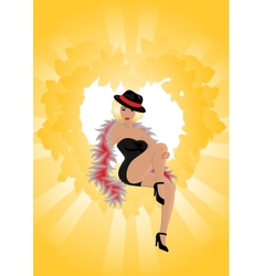 Beautiful cabaret girl with background vector