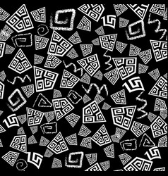 black and white doodle greek seamless pattern vector image