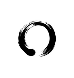 Black zen circle watercolor logo sign icon vector