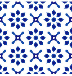 blue and white flower tile pattern vector image