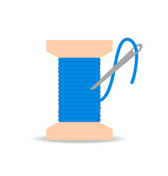 bobbin with needle and blue thread icon flat vector image