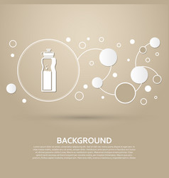 bottle of water icon on a brown background with vector image