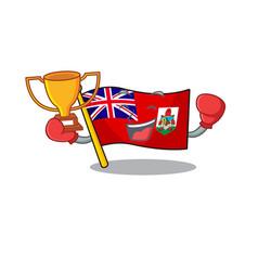 Boxing winner flag bermuda cartoon on pole vector