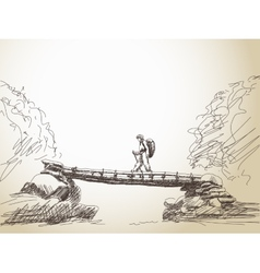 bridge crossing river with trekking woman vector image