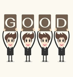 Business man holding papergood vector