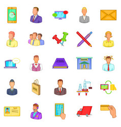 Business process icons set cartoon style vector