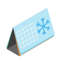 Calendar with snowflake icon isometric 3d style vector image