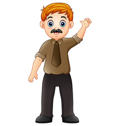 cartoon businessman waving hand vector image