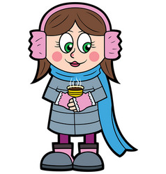 cartoon winter little girl vector image