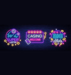 casino set of logos in neon style design template vector image
