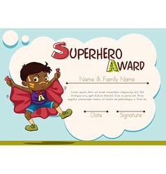 Certificate with boy being superhero background vector image