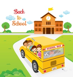 Children Going To School By School Bus vector