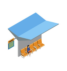 City transport terminal isometric 3d icon vector