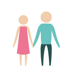 color silhouette pictogram couple holding hands in vector image