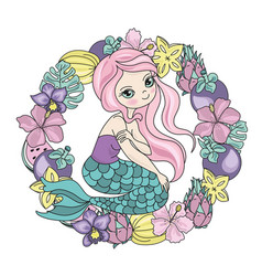 Colorful mermaid fruits vector