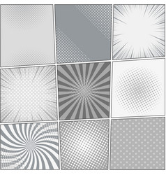 Comic book page blank backgrounds collection vector