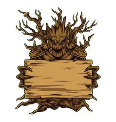 Creepy dry tree holding blank board vector
