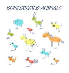 Cute funny multicolored domesticated animals vector