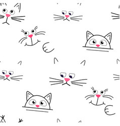 Cute kitty muzzle pattern seamless pattern vector