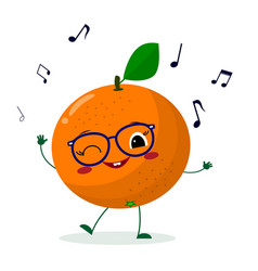 Cute orange cartoon character in glasses dances to vector