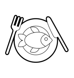 Delicious fish isolated icon vector