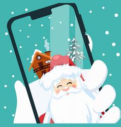 design santa claus making a video call vector image