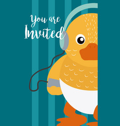 Duck cute animal cartoon invitation card vector