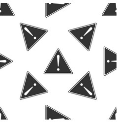 Exclamation mark in triangle icon seamless pattern vector