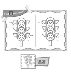 find 9 differences game black traffic light vector image vector image