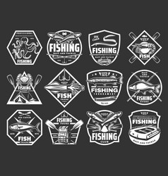 fishing sport monochrome icons for tackle store vector image