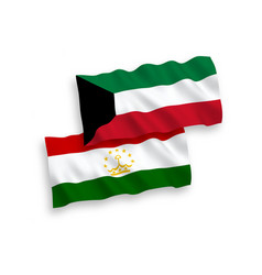 Flags of tajikistan and kuwait on a white vector