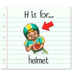 Flashcard letter h is for helmet vector