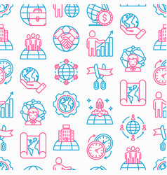 Global business seamless pattern vector
