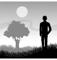 Grass tree and man silhouette design vector