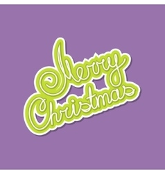 Green text merry christmas on purple background vector