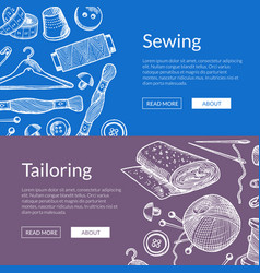 hand drawn sewing elements banners vector image
