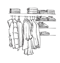 Hand drawn wardrobe sketch Clothes on the hangers vector image
