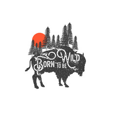 hand drawn wilderness badge with mountain vector image