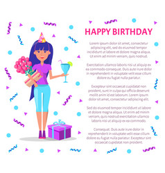 happy birthday poster woman cocktail bouquet vector image