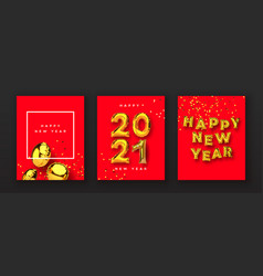 happy new year 2021 gold 3d balloon card set vector image