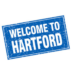 Hartford blue square grunge welcome to stamp vector