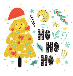 Ho ho ho card with a cute christmas tree in santa vector