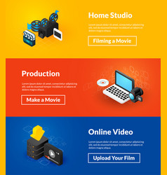 Home studio production and online video banners of vector